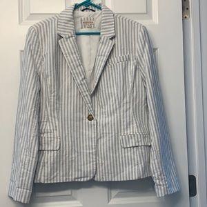 Merona Brand Blazer, White & Blue Stripes, Size 16